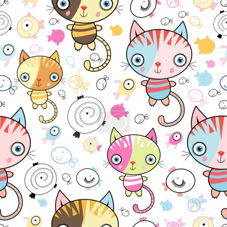 Illustration for Kids seamless pattern of kittens and fish on a white - Royalty Free Image