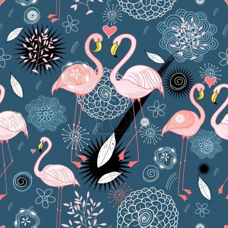 Pattern of love flamingos
