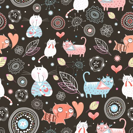 Illustration for Seamless pattern of the fun of cats on a brown background - Royalty Free Image