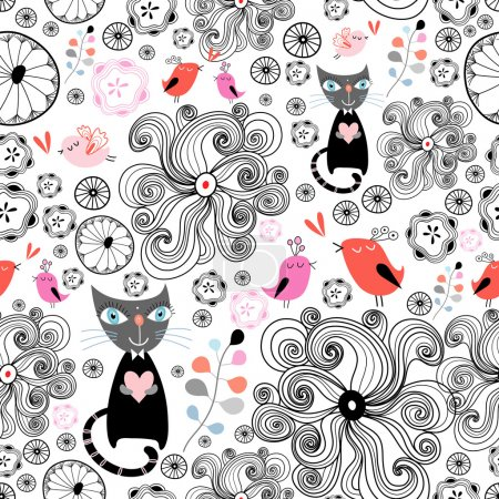 Illustration for Seamless graphic pattern with birds and cats in love on a white background - Royalty Free Image