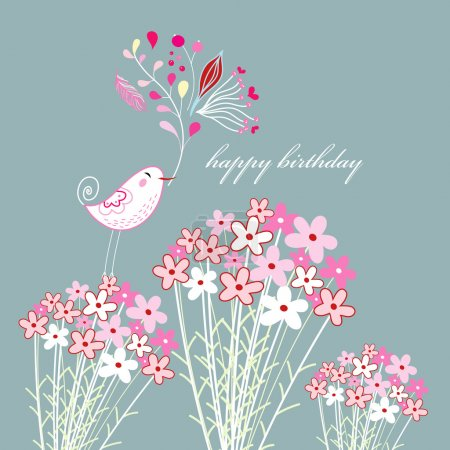 Illustration for Bright greeting card with a bird and flowers on a gray blue background - Royalty Free Image
