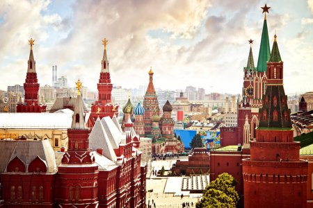 Photo for Aerial Kremlin view in Moscow - Royalty Free Image