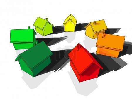 Illustration pour Sept maisons certifiées dans sept classes énergétiques - image libre de droit