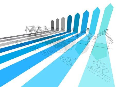 """Illustration pour Sept + une maison supplémentaire certifiée dans huit classes énergétiques (+ classe bleue """"extra A +"""" pour les bâtiments extraordinaires ) - image libre de droit"""