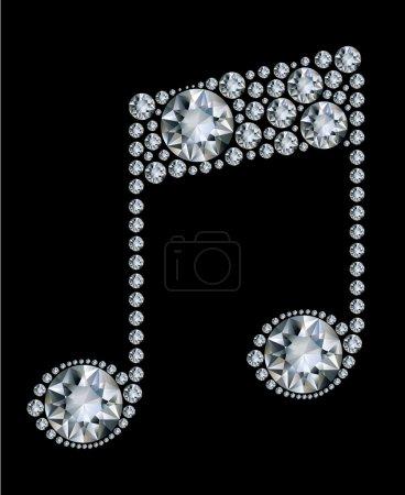 Diamond Music Note on black background