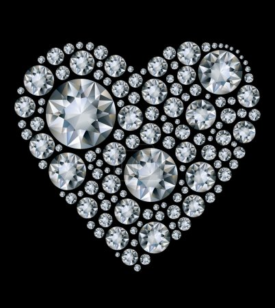 Photo for Vector shiny diamond heart on black background - Royalty Free Image