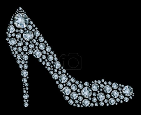 Photo for Shoes shape made up a lot of diamond on the black background - Royalty Free Image