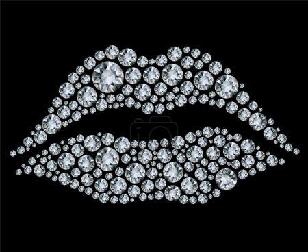 Vector shiny diamond heart on black background