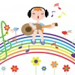 Music rainbow with sings boy...