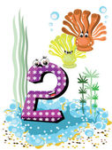 Sea animals and numbers series for kids from 0 to 10 - 2 coralls
