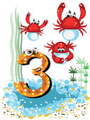 Sea animals and numbers series for kids 3crabs
