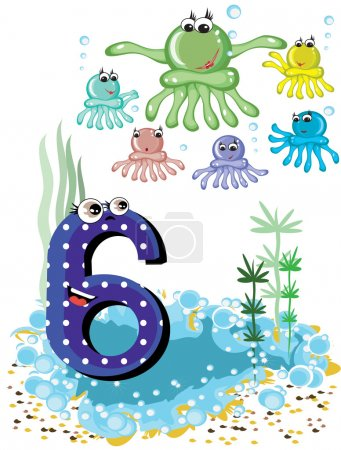 Sea animals and numbers series for kids ,6,octopuses