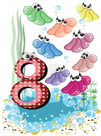 Sea animals and numbers series for kids ,8,shells
