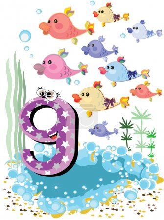 Sea animals and numbers series for kids ,9 fish