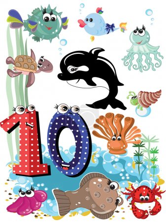 Sea animals and numbers series for kids ,10