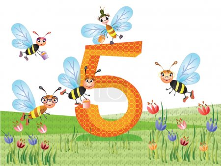 Insects and numbers series for kids, from 0 to 10 - 5