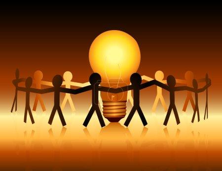 Illustration pour Illustration conceptuelle d'une chaîne de papier de connexion autour d'une ampoule lumineuse . - image libre de droit