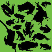 A collection of 14 different frog silhouettes Red-eyed tree frogs peacock frogs poison dart frogs and wallace flying frogs were all used in the silhouettes