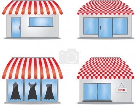 Cute shop icons with red awnings