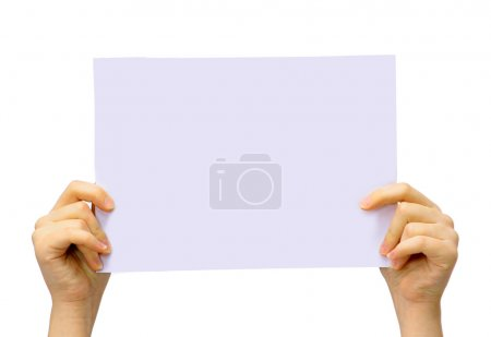 Two hands are holding up a white piece of paper on an isolated background.