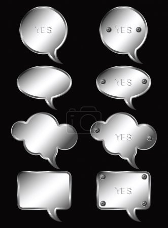 Illustration for Set of realistic metallic speech bubbles. Vector illustration. - Royalty Free Image