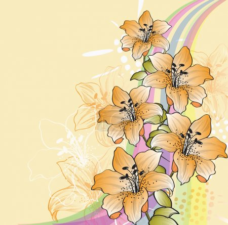 Floral background with lilies and rainbow eps10