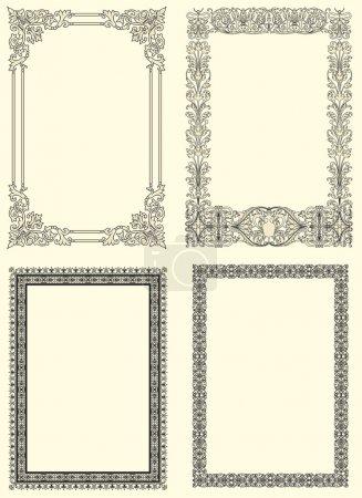 Photo pour Ensemble de quatre cadres vintage ornementaux dans le style français du XVIIe siècle - image libre de droit