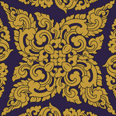 Seamless pattern baroque yellow with purple background