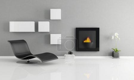 Foto de Interior minimalista con chimenea esencial - representación - Imagen libre de derechos