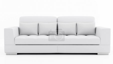 Photo for Beige and gray sofa isolated on white - rendering - Royalty Free Image