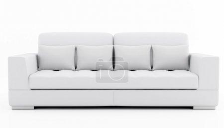 Foto de Sofá beige y gris aislado en blanco - representación - Imagen libre de derechos