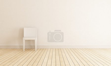Photo for Bright interior with chair against wall - rendering - Royalty Free Image
