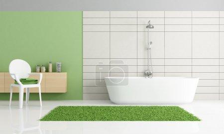 Photo pour Salle de bains minimaliste avec chaise - rendu - image libre de droit