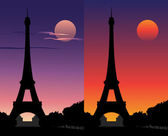 Eiffel Tower at sunset under a full moon