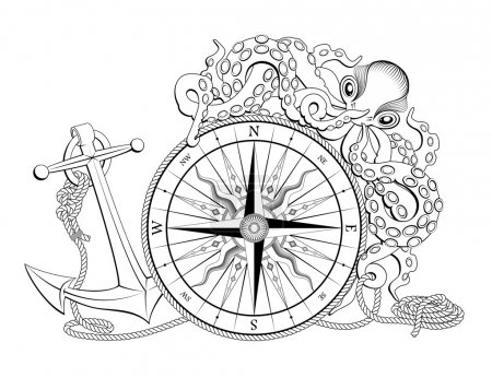 Illustration for Vintage compass with anchor and octopus for design isolated on white - Royalty Free Image