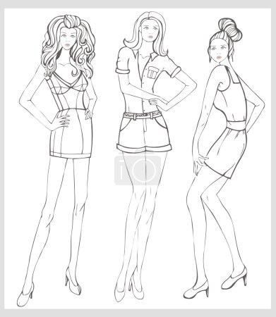 Hand-drawn fashion model vector illustration set