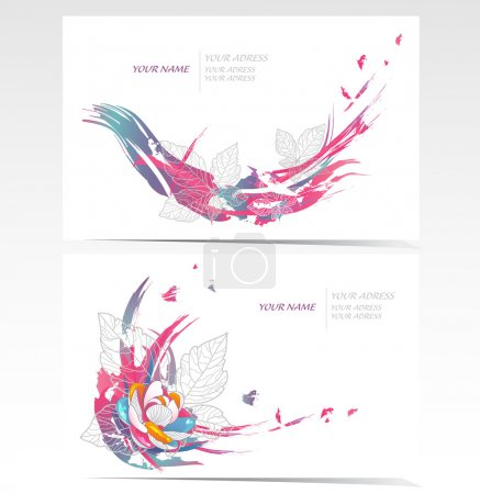 Illustration for Vector business card set with floral elements. Backgrounds with flowers and leafs. - Royalty Free Image