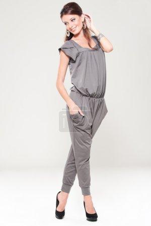 Smiley stylish woman