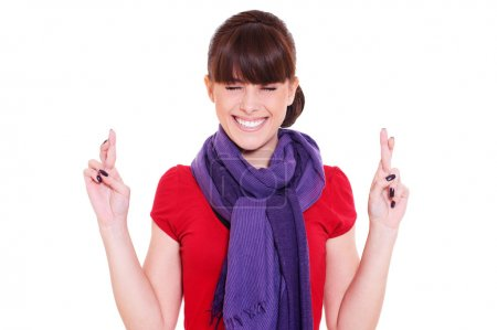Woman with crossed fingers