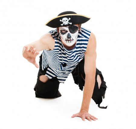 Portrait of cruel pirate. isolated on white backgr...