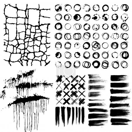 Illustration for Differenet black grunge elements isolated on white - Royalty Free Image