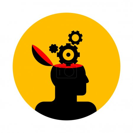 Illustration for Vector icon of human head with gear wheels - Royalty Free Image