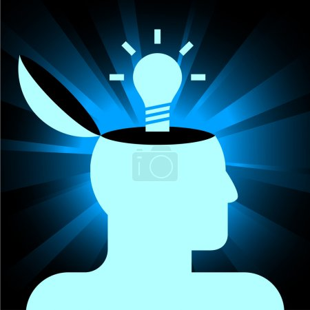 Illustration for Vector icon of human head with lamp on shining background - Royalty Free Image