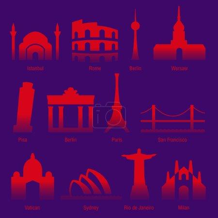 Photo pour Ensemble de visites des villes touristiques du monde - image libre de droit