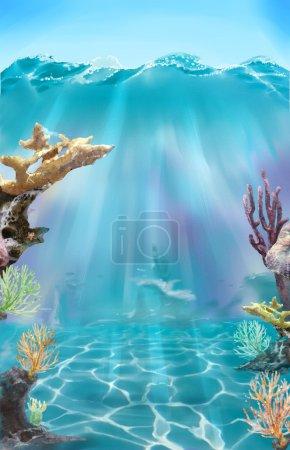 Colorful illustration of the sea bottom.