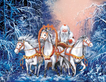 Photo for A russian triple of horses with Santa Claus rides the winter forest in New Year Evening - Royalty Free Image