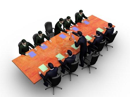 Photo pour Sur l'image 3D, deux groupes d'hommes d'affaires en réunion d'affaires informelle - image libre de droit