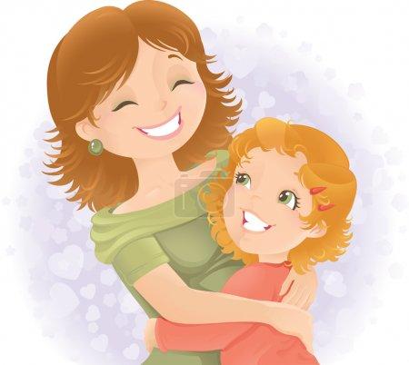 Photo pour Petite fille étreignant sa mère. Idéal pour la fête des mères - image libre de droit