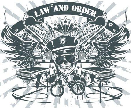 Illustration pour Emblème de la loi et de l'ordre - image libre de droit