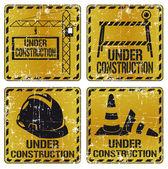 Under construction sticker set
